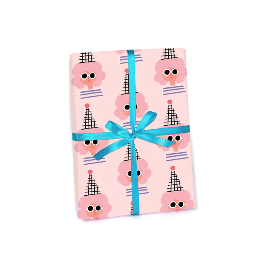 Pink Party Girl Wrapping Paper Roll