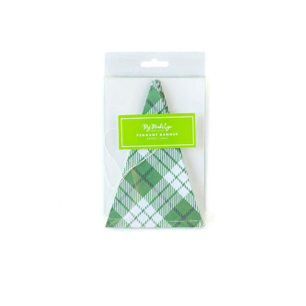 Lucky Green Plaid Pennant Banner