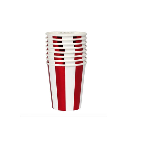 Red Foil Stripe Party Cups