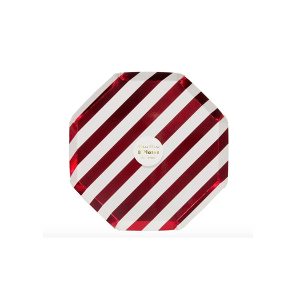 Red Foil Stripe Party Plates