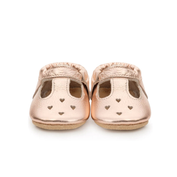 Rose Gold Mary Jane Baby Moccasins