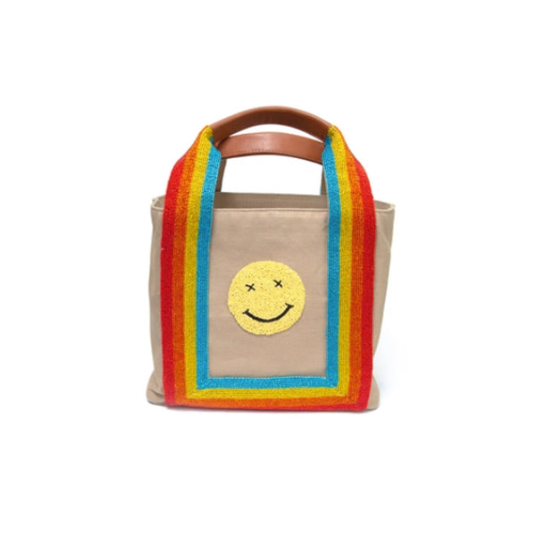Happy Face Tote with Beaded Rainbow Handles