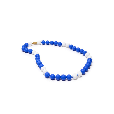 Go Team! Blue & White Teether Necklace
