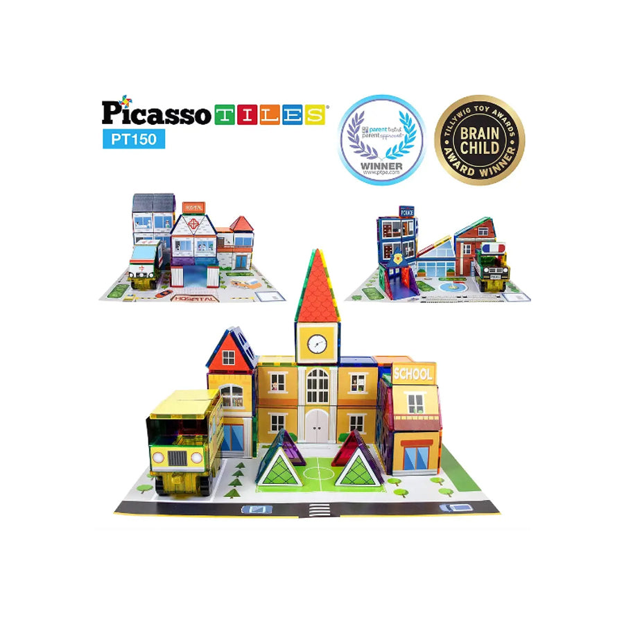 Build Your Town Magnetic Building Tiles, Truck and Scenery