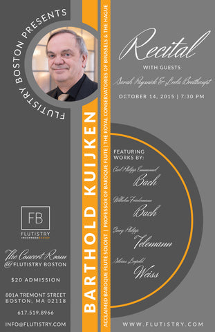 Admission: 10/14, 7:30pm - Barthold Kuijken in Concert - FLUTISTRY BOSTON