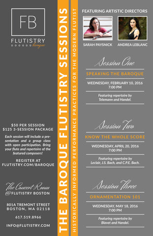 Baroque Flutistry 3-session package - FLUTISTRY BOSTON