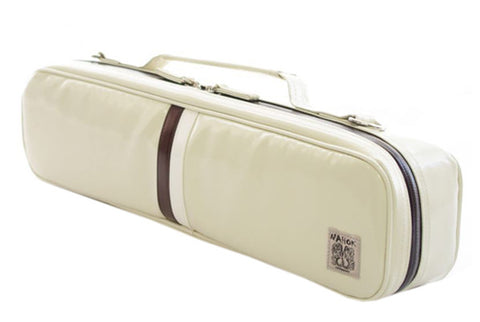 Nahok B foot Flute Case - Ivory with Chocolate & White Line