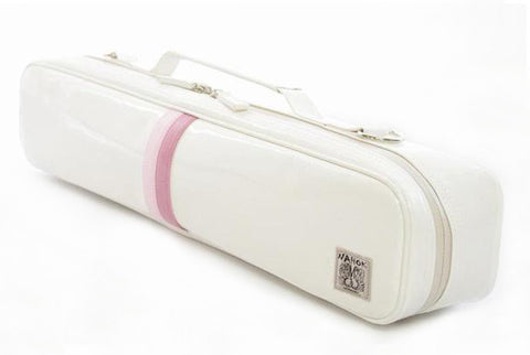 Nahok B foot Flute Case - White with Pink & Rose Line