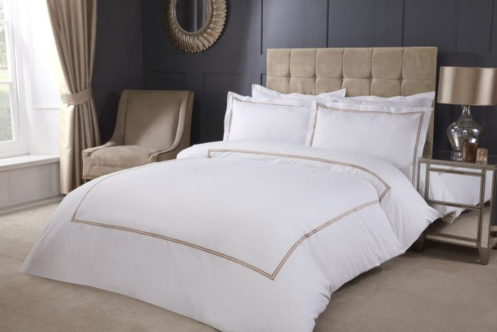 Carlton Embroidered Duvet Set + Fitted Sheet