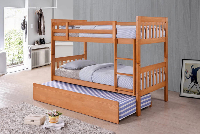 Wooden Beds - Nia Wooden Bunk Bed With Trundle