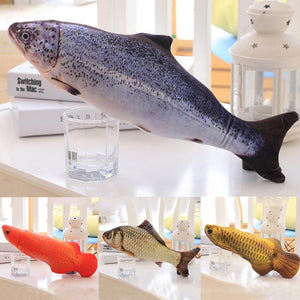 1PC 3D Fish Creative Pet Cat Kitten Chewing Cat Toys Doll Catnip Stuffed Fish Interactive Kitten Playing Toy Stuffed Pillow