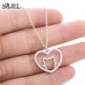 Cat Heart Necklace