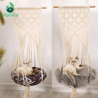 Load image into Gallery viewer, Cat Swing Bed Cage Boho Style Handmade Hanging Sleep Chair Seats Tassel CatsToy Cotton Rope Macrame Tassel House Pets Supplies