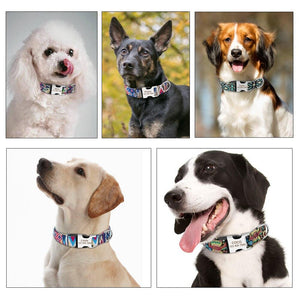 Custom Dog Collar Personalized Nylon Pet Dog Tag Collar Adjustable Engraved Puppy Cat Nameplate ID Collars For Small Large Dogs