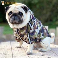 Load image into Gallery viewer, FATHIN Dog Clothes Adidog Camouflage French Bulldog Pupreme Shirt Dog Camo Windbreaker Sport Retro Dog Hoodies Pet Clothes