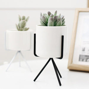 Home Goods - 1Set Nordic Style Ceramic Iron Art Vase Minimalism Flower Vases Home Decoration Green Plant Flowerpot Coffeehouse OfficeRoom