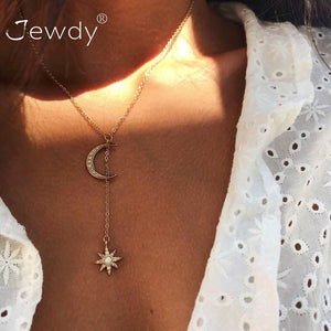 Multi Layer Crystal Moon Star Choker Necklace