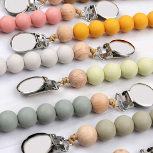 Pacifier Clips Chain Silicone Beads BPA Free DIY Dummy Clip Holder Soother Chains Baby Teething Toys Chew Gifts