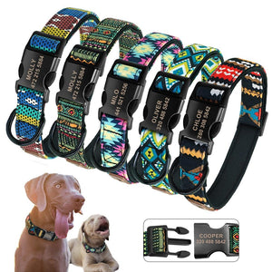 Personalized Dog Collar Nylon Custom Pet Dog Tag Collars Printed Plaid Puppy Nameplate ID Collars For Medium Large Dogs Engraved