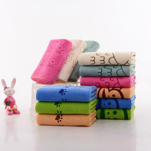 Soft Lovely Cartoon 35*75cm Pets Dog Cat Puppy Super Absorbent Towel Dry Hair Super Large