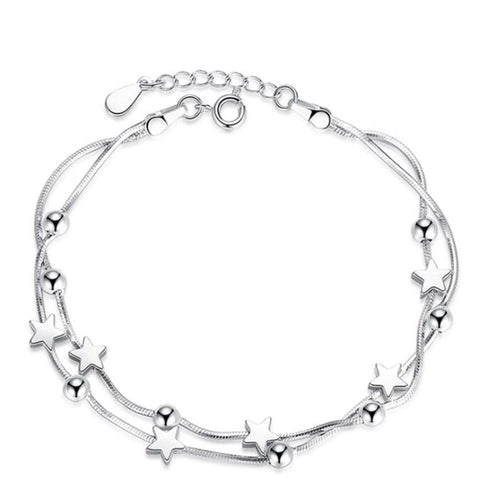 Sterling Silver Retro Star Bracelet