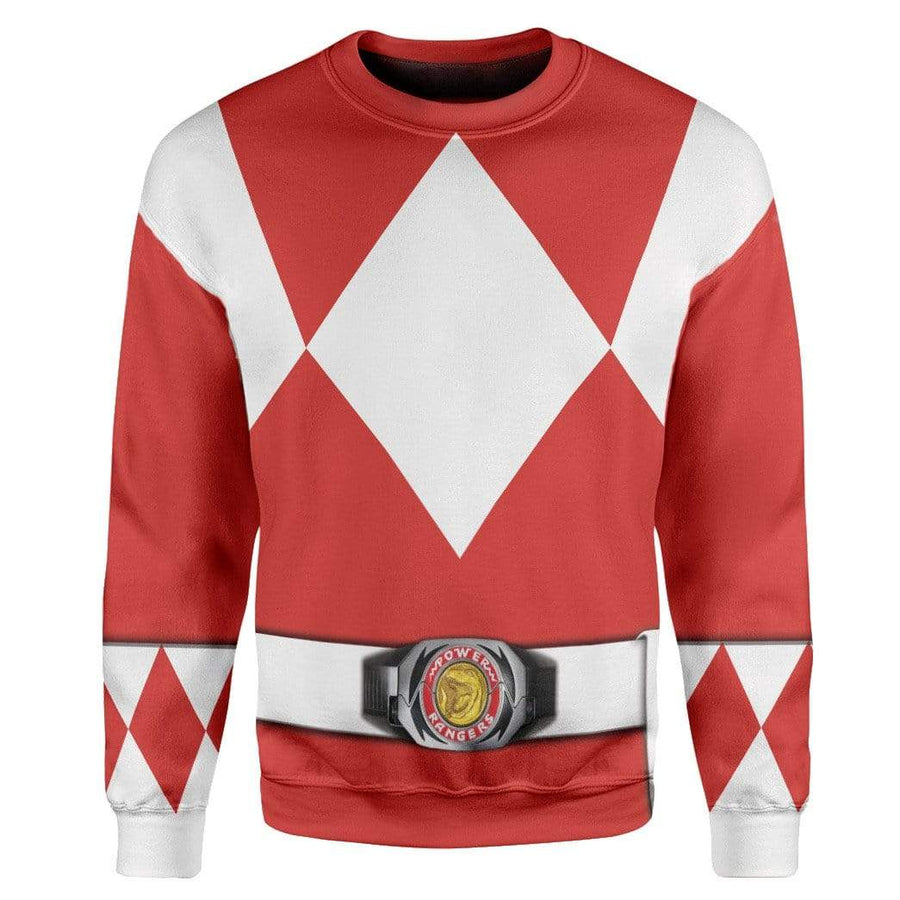 Gearhumans Cosplay Red Power Ranger Custom T-Shirts Hoodies Apparel