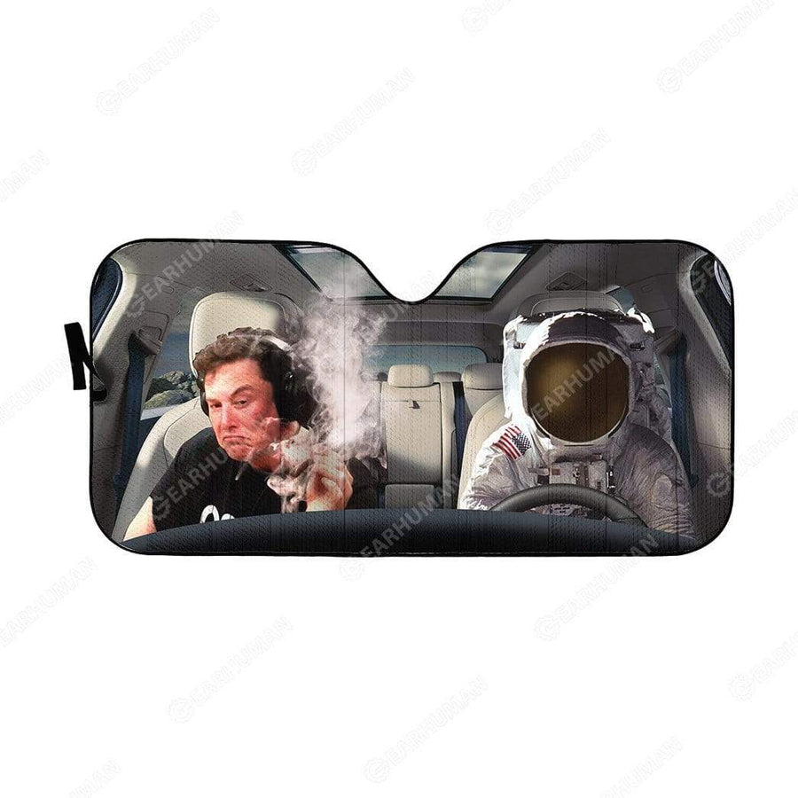 Custom Car Auto Sunshade Elon Musk And Astronaut HD-DT2181937-SS Auto Sunshade 57''x27.5''