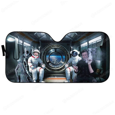 Custom Car Auto Sunshade Elon Musk And Astronauts HD-DT2481919-SS Auto Sunshade 57''x27.5''