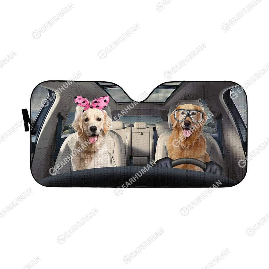 Custom Car Auto Sunshade Golden Retrievers HD-GH1481907-SS Auto Sunshade 57''x27.5''