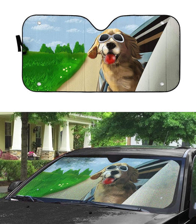 Custom Car Auto Sunshade Happy Golden Retriever DG-TA1101201 Auto Sunshade