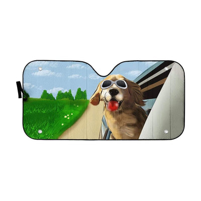 Custom Car Auto Sunshade Happy Golden Retriever DG-TA1101201 Auto Sunshade 57''x27.5''