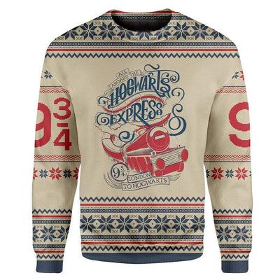 Custom T-shirt - Long Sleeves UGLY CHRISTMAS HARRY POTTER HOGWARTS EXPRESS Christmas Sweater Jumper HD-GH20662 Ugly Christmas Sweater
