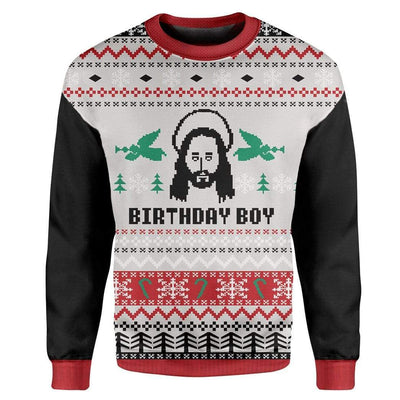 Custom T-shirt - Long Sleeves Ugly Christmas Jesus's Birthday Christmas Sweater Jumper HD-GH20652 Ugly Christmas Sweater Long Sleeve S