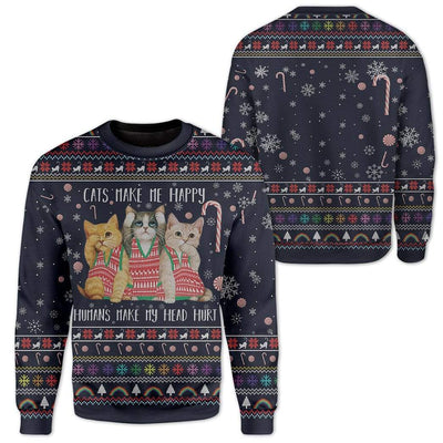 Custom Ugly Cat Christmas Sweater Jumper HD-AT29101901 Ugly Christmas Sweater
