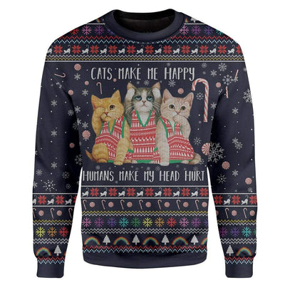 Custom Ugly Cat Christmas Sweater Jumper HD-AT29101901 Ugly Christmas Sweater Long Sleeve S