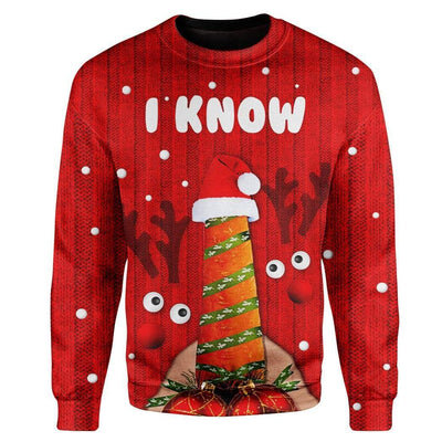 Custom Ugly Christmas I Know Sweater Jumper HD-AT17101913 Ugly Christmas Sweater Long Sleeve S
