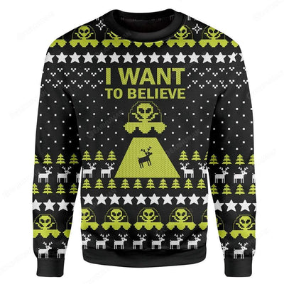 Custom Ugly I Want To Believe Christmas Sweater Jumper HD-TA31101906 Ugly Christmas Sweater