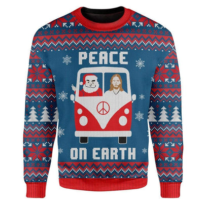 Custom Ugly Peace On Earth Christmas Sweater Jumper HD-TA21101903 Ugly Christmas Sweater Long Sleeve S