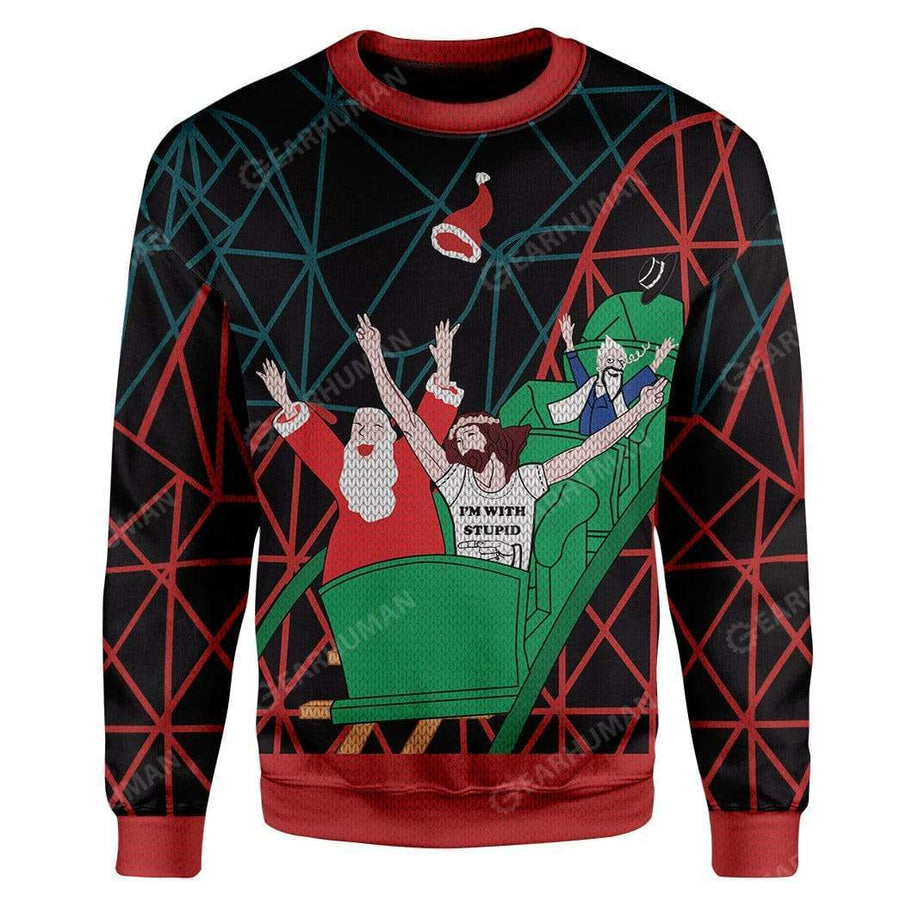 Custom Ugly Santa And Jesus Christmas Sweater Jumper