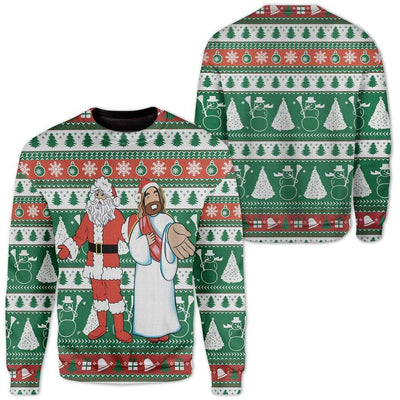Custom Ugly Santa And Jesus Christmas Sweater Jumper HD-DT28101903 Ugly Christmas Sweater