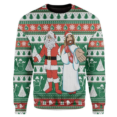 Custom Ugly Santa And Jesus Christmas Sweater Jumper HD-DT28101903 Ugly Christmas Sweater Long Sleeve S