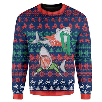 Custom Ugly Shark Christmas Sweater Jumper HD-TT28101910 Ugly Christmas Sweater Long Sleeve S