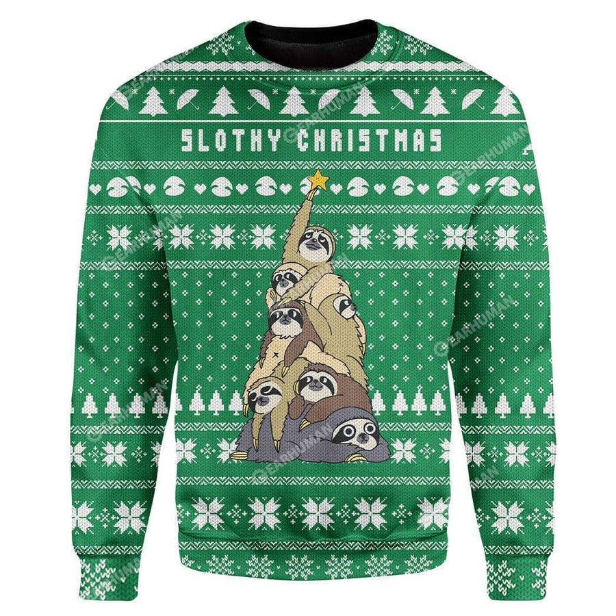 Custom Ugly Slothy Christmas Christmas Sweater Jumper