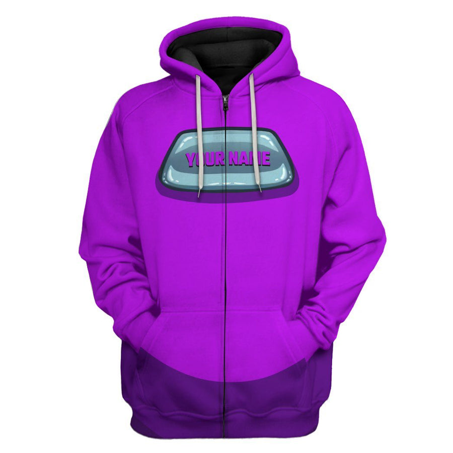 Gearhuman 3D Among Us Purple Custom Name Hoodie Apparel GV23094 3D Apparel Hoodie S