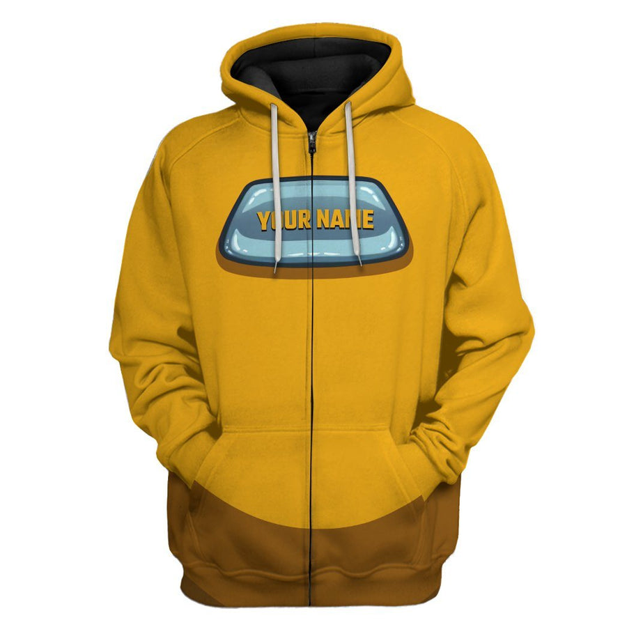 Gearhuman 3D Among Us Yellow Custom Name Hoodie Apparel GV23093 3D Apparel Hoodie S