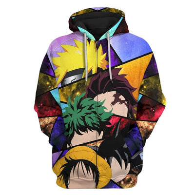 Gearhuman 3D Anime Heroes Custom Fleece Hoodie Apparel GA20034 3D Custom Fleece Hoodies Zip Hoodie S
