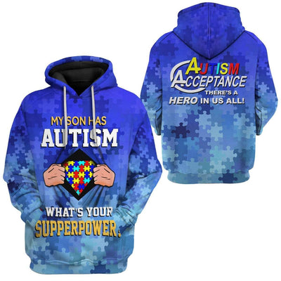 Gearhuman 3D Autism Acceptance My Son Has Superpower Custom Hoodies Apparel GT20022 3D Custom Fleece Hoodies