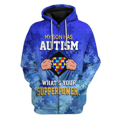 Gearhuman 3D Autism Acceptance My Son Has Superpower Custom Hoodies Apparel GT20022 3D Custom Fleece Hoodies Zip Hoodie S