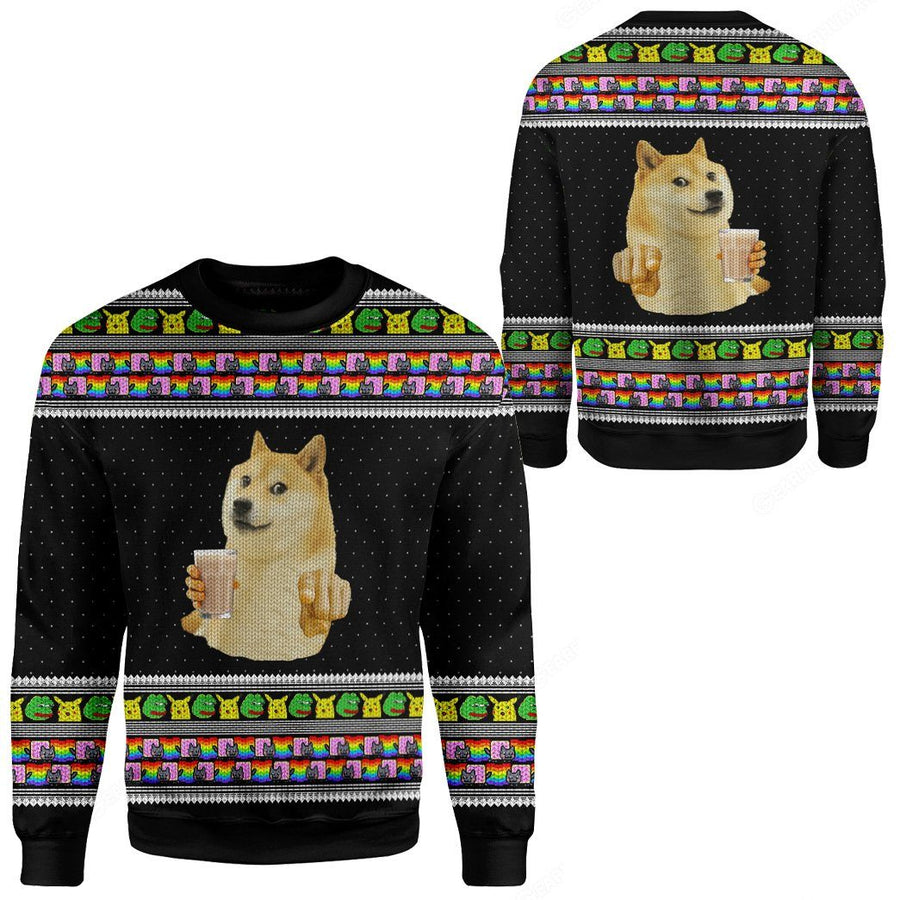 Gearhuman 3D Choccy Milk Meme Doge Ugly Sweater Custom Sweatshirt Apparel