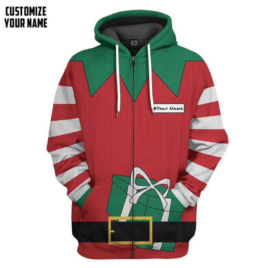 Gearhuman 3D Christmas Elf Custom Name Hoodie Apparel GC06101 3D Apparel Hoodie S